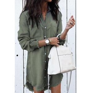 Image 3 - Lguc.H camicia Jeans donna Vintage 2020 camicia di Jeans camicia oversize donna taglie forti taglie forti donna alta sciolta grigio blu verde 5xl 4xl