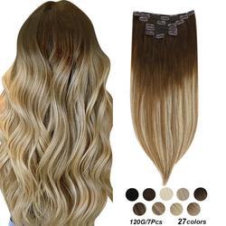 [24 цвета] удлинители волос с зажимом Ugeat, 14-22 дюйма, человеческие волосы с двойным переплетением, волосы для наращивания с полной клипсой, 100 г/...
