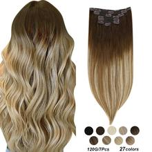 """[27 colors] Ugeat Clip in Hair Extensions 14 22"""" Human Hair Double Drawn Remy Hair Full Head Clip in Extensions 120g/7Pcs Set"""
