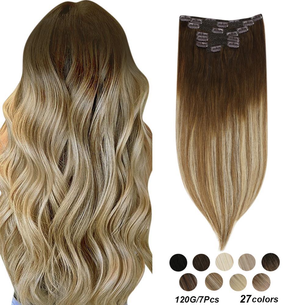 """[27 cores] ugeat grampo em extensões de cabelo 14-22 """"cabelo humano duplo desenhado remy cabelo cabeça cheia grampo em extensões 120g/7 pces conjunto"""