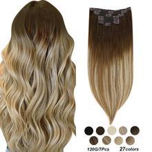 """Ugeat extensiones de cabello Remy de 14 22 """", mechones de pelo humano Remy de doble estiramiento con Clip, conjunto de 120g/7 Uds. En 27 colores"""