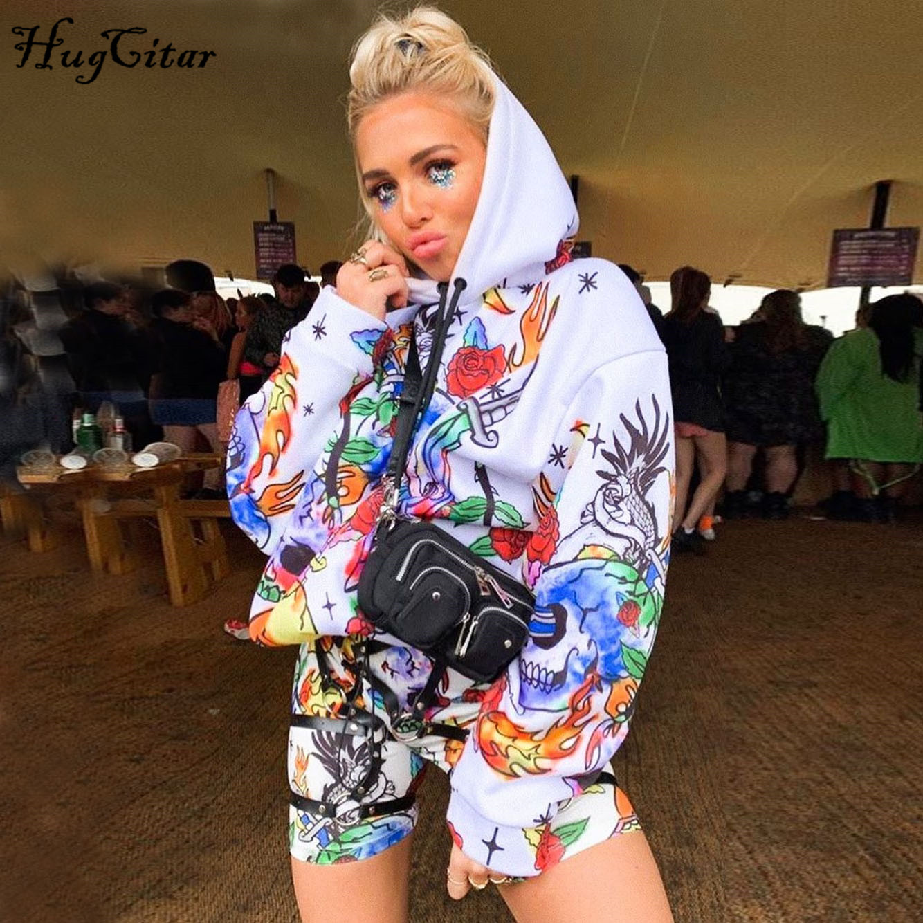 Hugcitar 2019 Print Hooded Long Sleeve Sweatshirts Autumn Winter Women Baggy Hoodies Fullover Streetwear Outfits Hoody Ladies