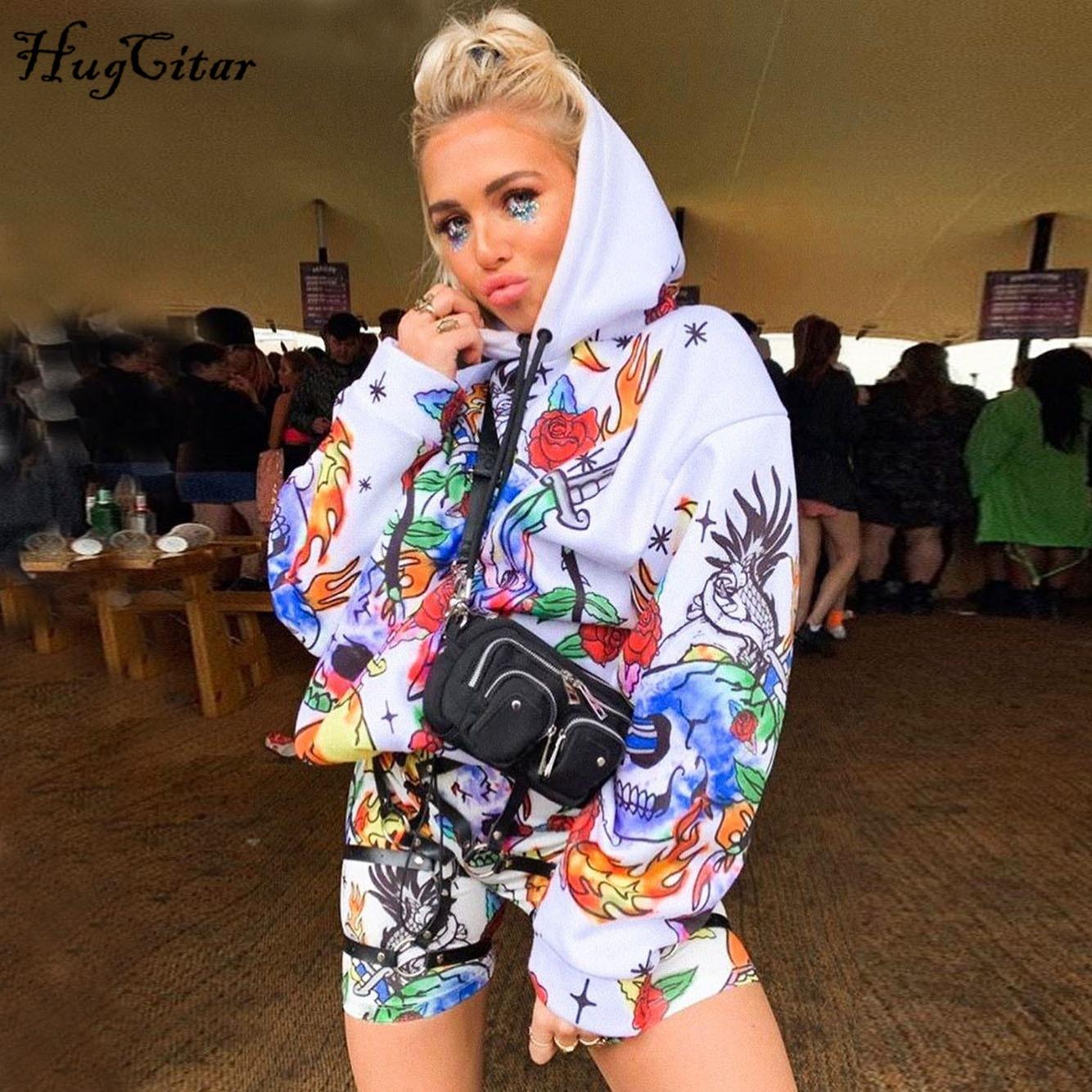 Hugcitar 2019 Print Hooded Long Sleeve Sweatshirts Autumn Winter Women Baggy Hoodies Fullover Streetwear Outfits Hoody Ladies
