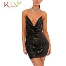 Sexy Dress Shiny Necklace Halter Solid Mini Dresses Women Summer Party Night Club Gold Sundress Ladies Clothes Vestidos 20Jan(China)