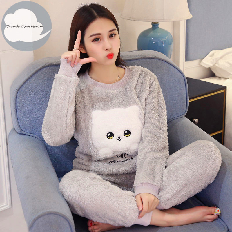 Winter Flannel Women Sleepwear Pajamas Girls Cartoon Print Pajama Set Pullover Coral Fleece Pijamas Mujer Home Lounge Sets