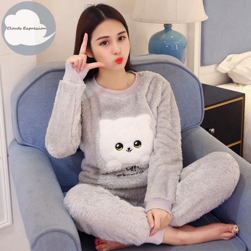 Winter Flannel Women Sleepwear Pajamas Girls Cartoon Print Pajama Set Pullover Coral Fleece Pijamas Mujer Home Lounge Sets