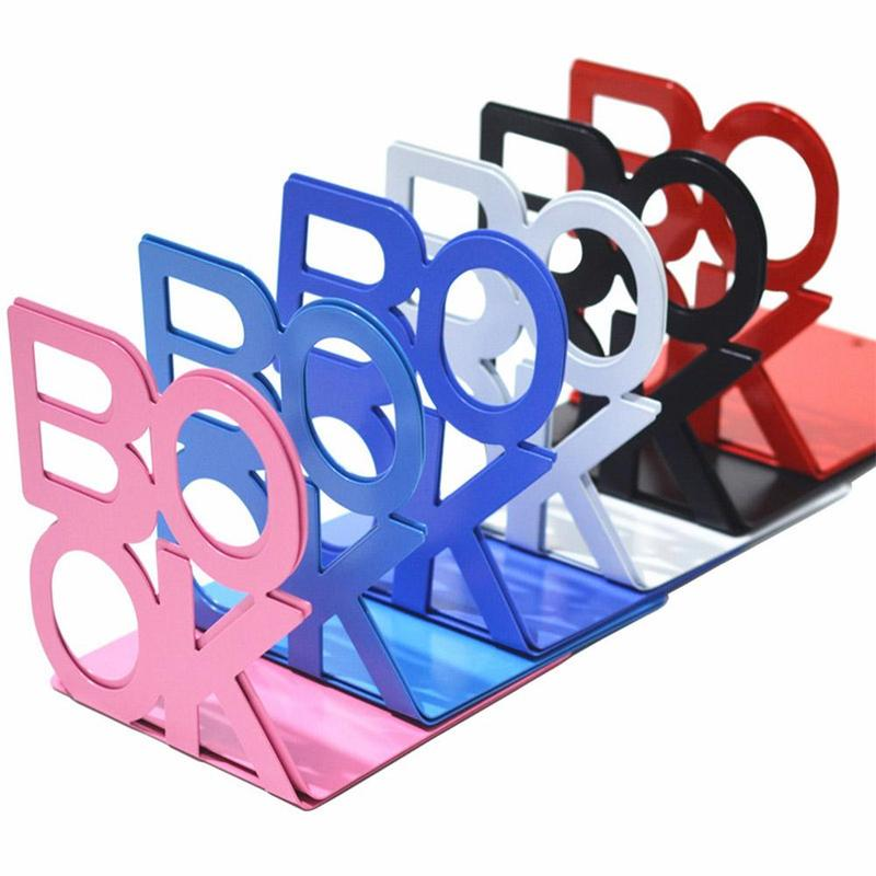 1Pair Bookend School Metal Stand Metal Bookends Bezel Stationery Alphabet Book Office Holder Metal Bookends Office Supply