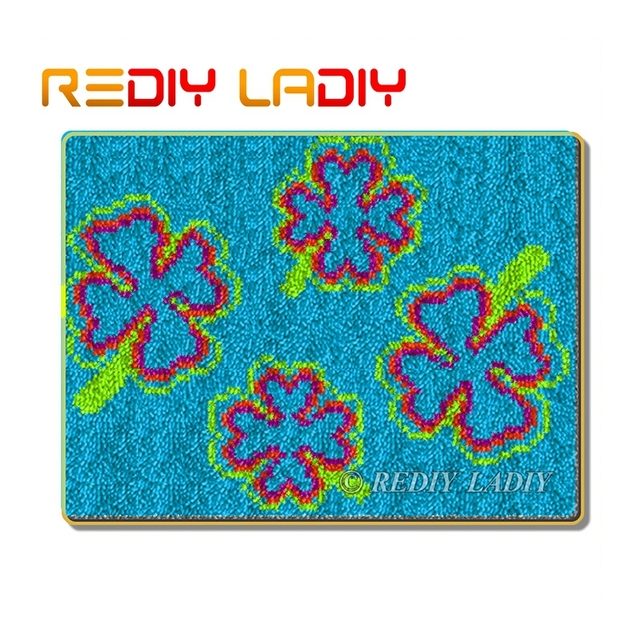 "Latch Hook Rug Kit/""Blue Flowers/"" 52x38cm"