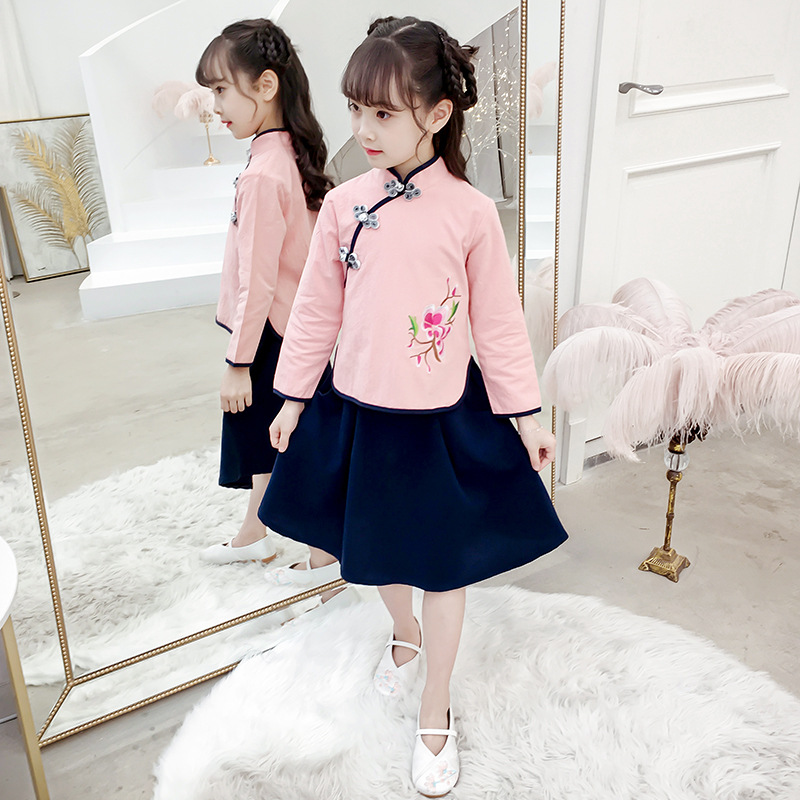 Girls Long Sleeve Chinese Clothing Little Girl Chinese-style Stand Collar Improved Ancient Costume Big Boy Sweet Skirt Set Sprin