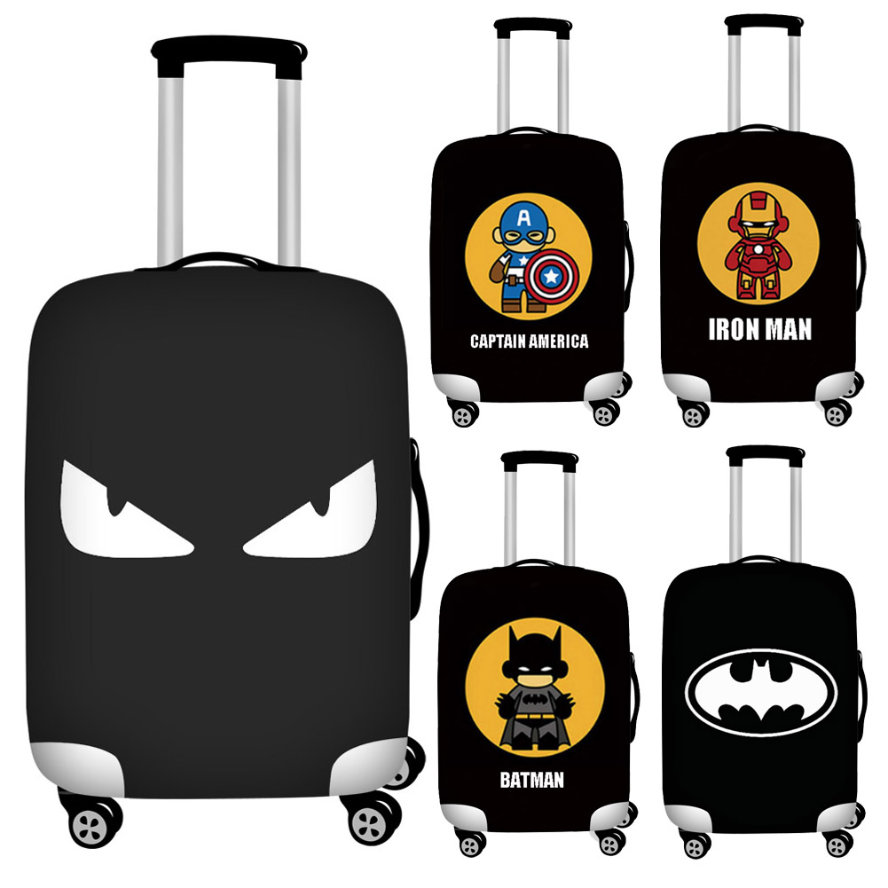 Cool Cartoon Hero Print Luggage Cover Black 18''-32'' Travel Suitcase Protective Dust Covers Elastic Baggage Cover Zipper