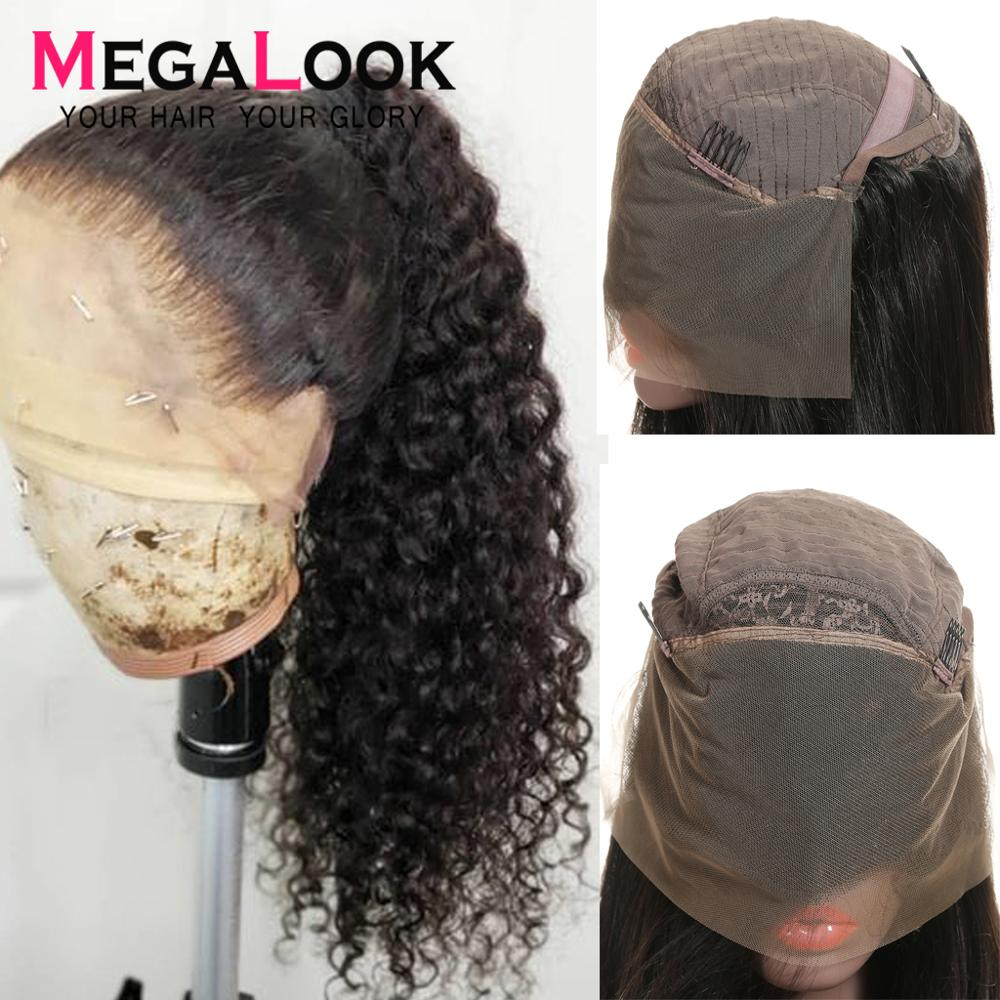 Curly Wig Lace Closure Human Hair Wigs For Black Women Pre Plucked Brazilian Human Hair Wig Natural Hairline 13x4 Remy Megalook