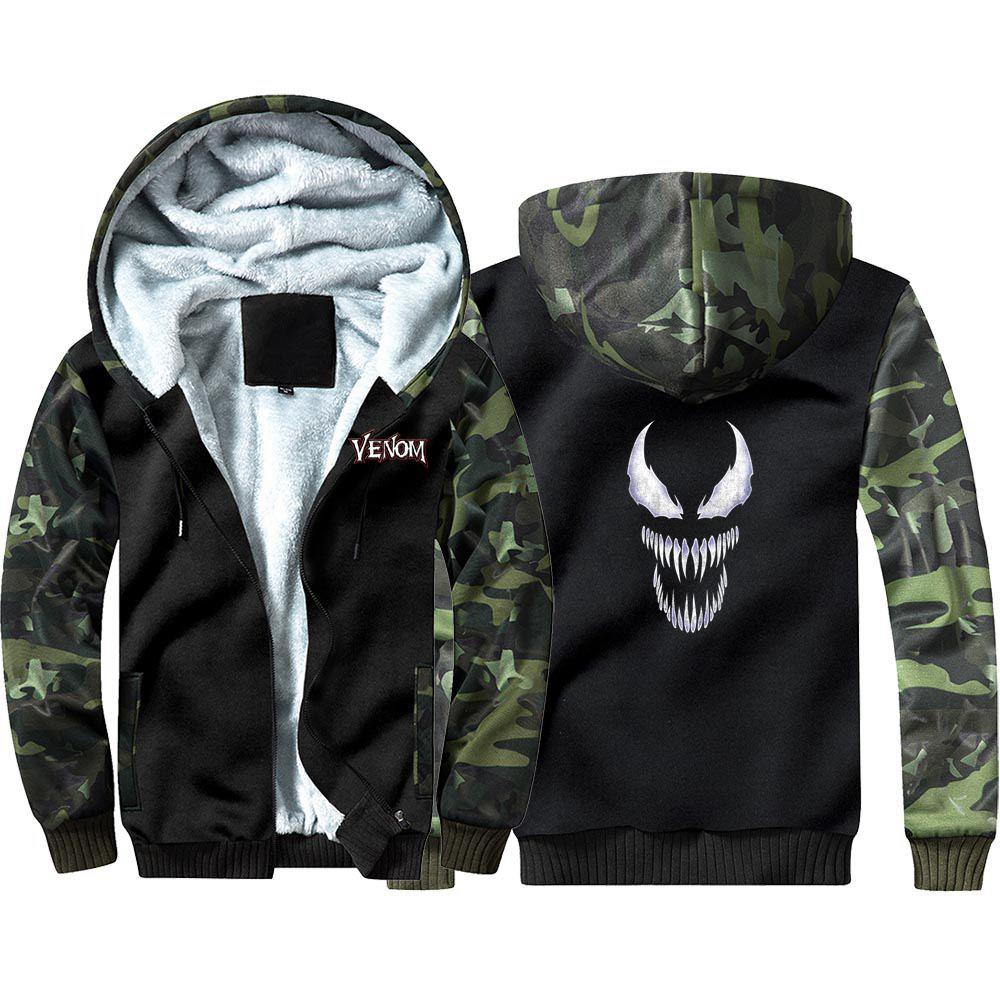 New Venom Camouflage Hoodie Sweatshirts Winter Thicken Hooded Coat Cosplay Costume Warm Men Women Clothing