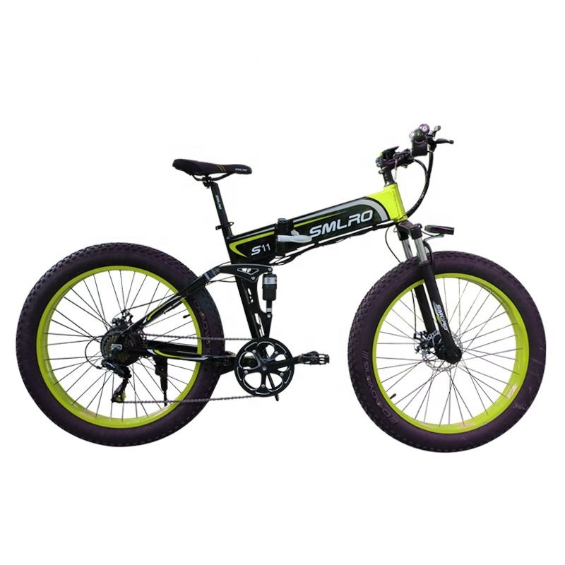 "S11F 26"" 48v 10AH 350W folding fat tire electric bicycle with hidden battery 1"