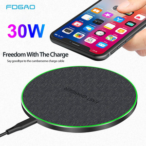 FDGAO 30W Qi Wireless Charger For iPhone 11 Pro XS X XR 8 Induction Type C Fast Charging Pad for Samsung S20 S10 Xiaomi Mi 10 9