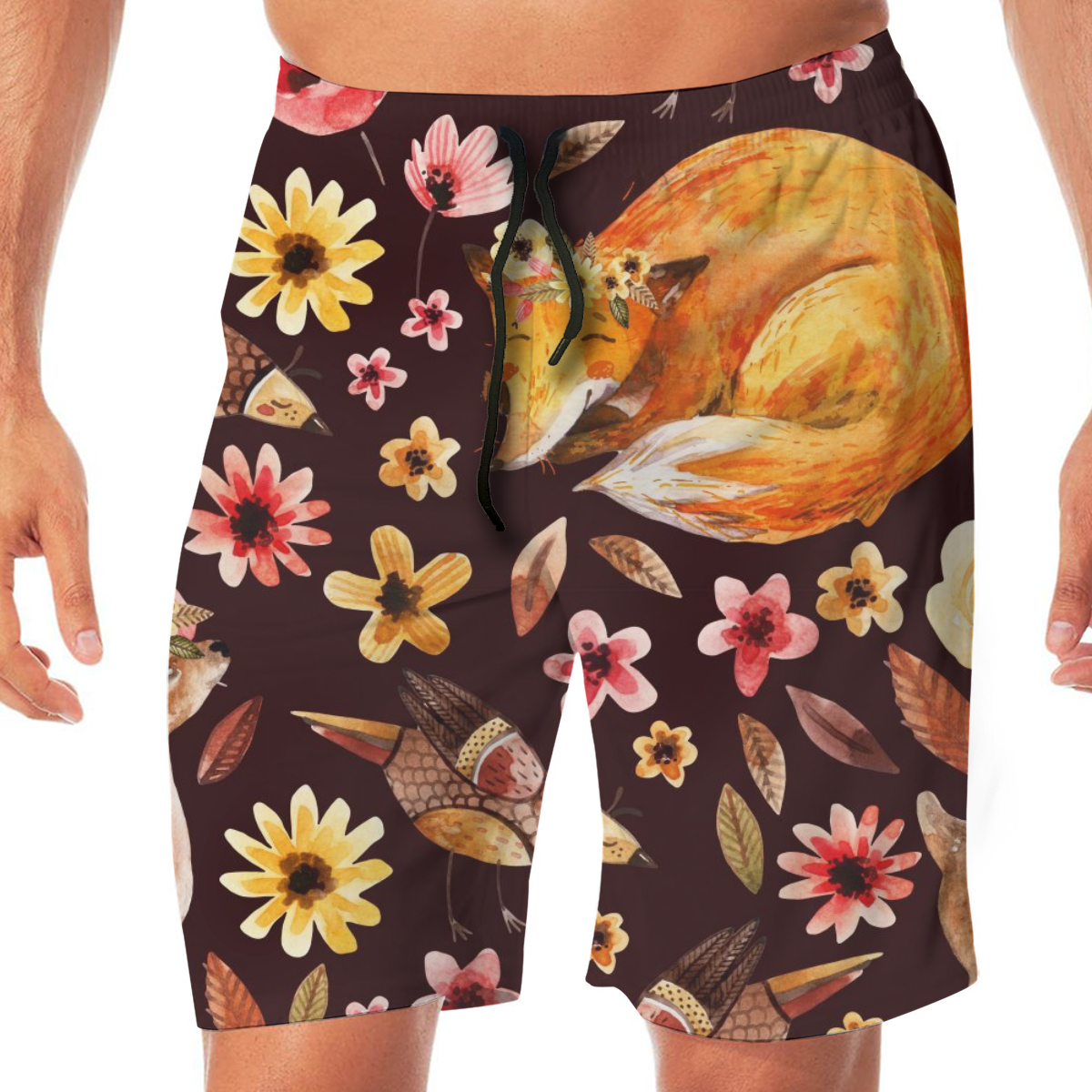 Watercolor Floral Sleeping Fox Mens Swimsuit Swimwear Swimming Shorts Beach Short Sports Suits Surf Board Swim Trunks Beachwear