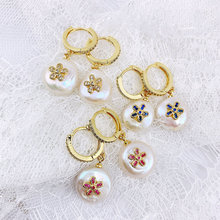 Wholesale Natural Pearl Micro Pave Flower - Shaped CZ Charm Earrings 5 or 10 Pairs
