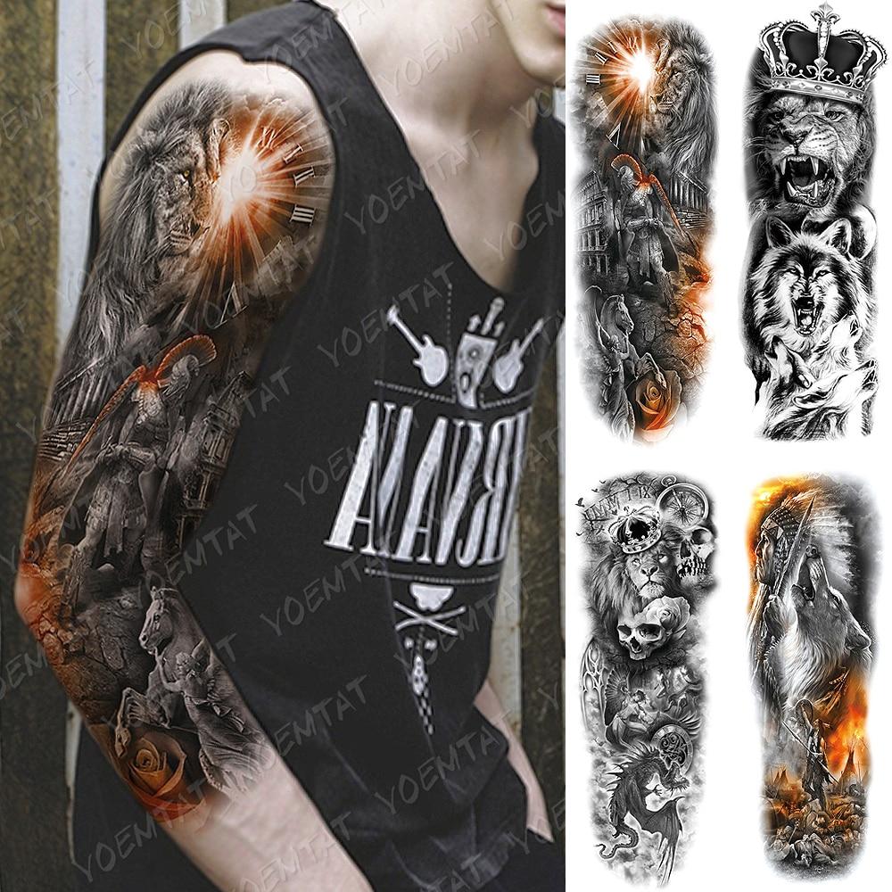 Grand Bras Manches Tatouage Lion Guerrier Romain Samourai Impermeable Temporaire Tatto Autocollant Loup Crane Dragon Art Corporel Complet Faux Tatoo Aliexpress