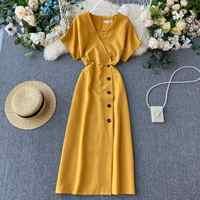 2020 Vintage Slim V Neck Button Dresses Summer Midi Long Dress Vestido De Festa Party Evening Women Casual Elegant Vestidos