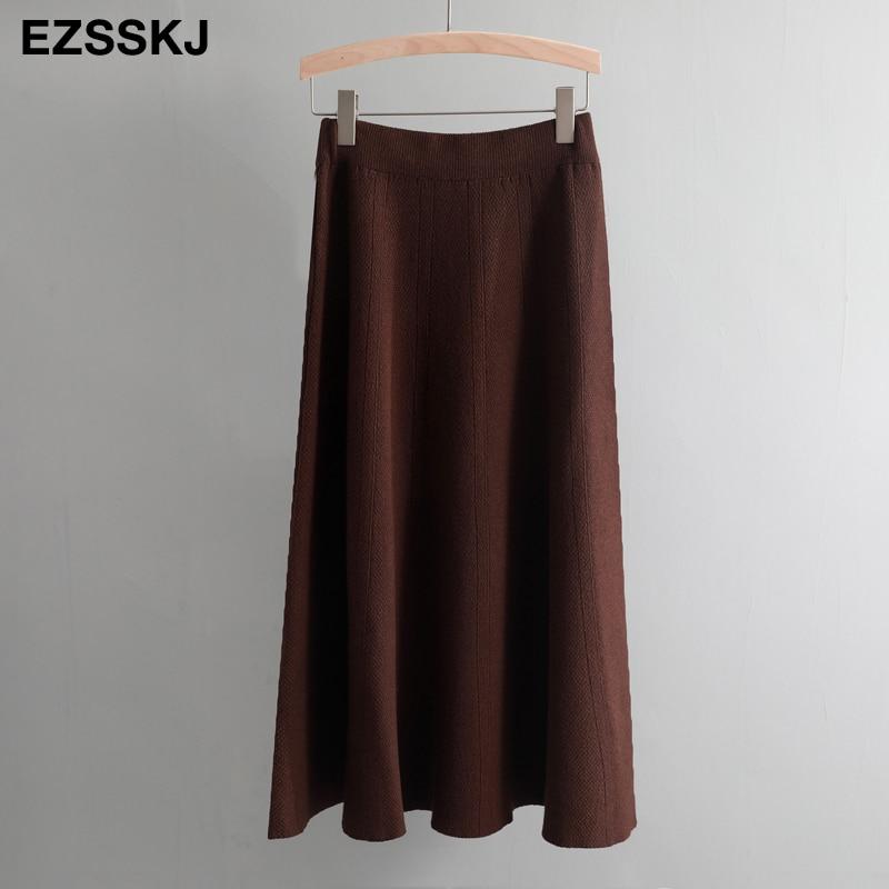 Винтажный осенне-зимний женский толстый свитер с зонтиком, юбка с высокой талией, трикотажная юбка средней длины, трапециевидная Женская однотонная элегантная юбка - Цвет: coffee