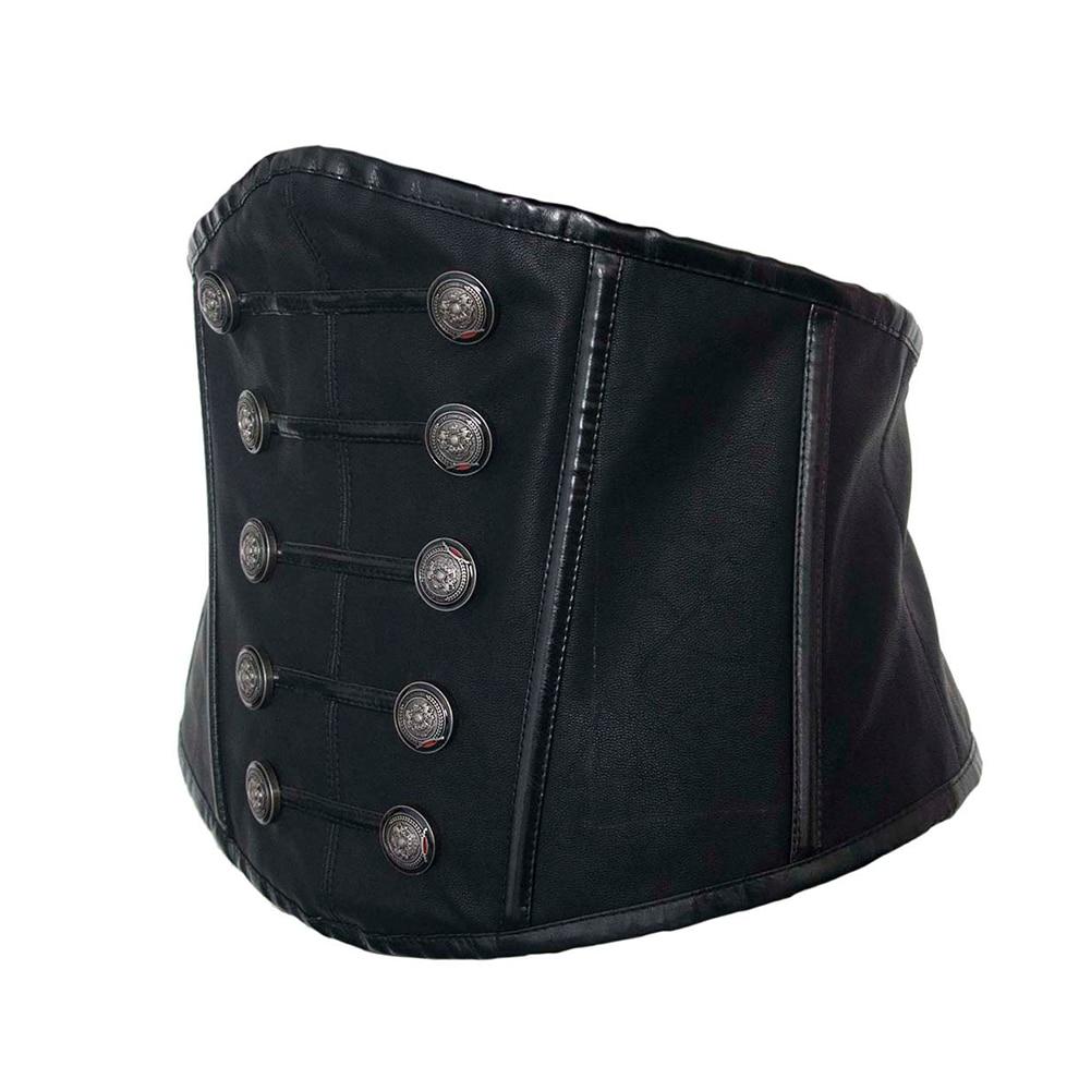 Fashion Retro Lady Waist Shape Corset Wide Elastic Faux Leather Black Belt Stretch Waistband With Hardwares Decor