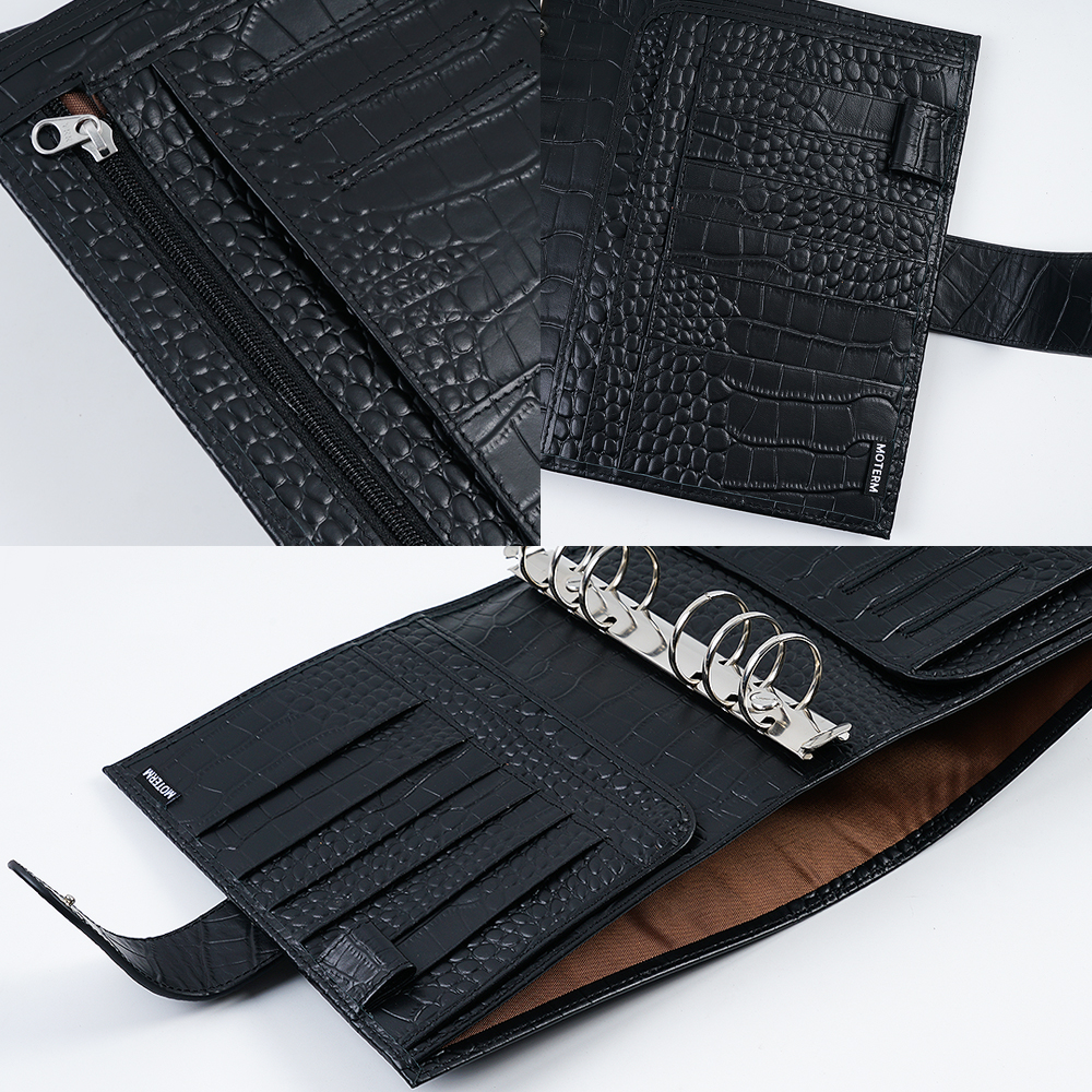 Moterm Luxe Series Personal Wide Size Planner with 30 MM Silver Rings Croc Grain Leather Notebook Cowhide Organizer Agenda 3