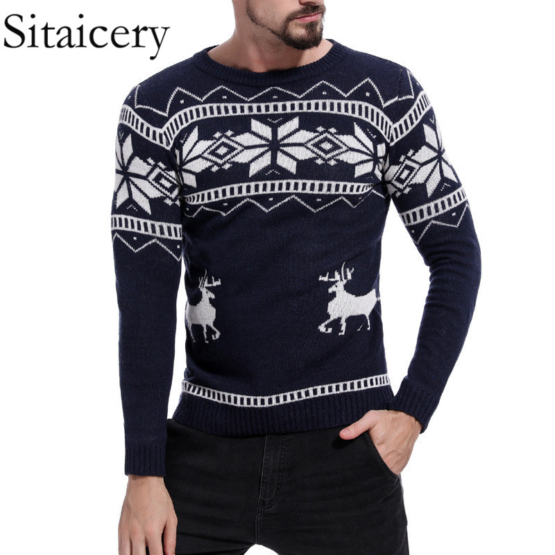 Sitaicery Mens Causal O Neck Sweater Deer Printed Autumn Winter Christmas Knitted Pullover Sweater And Sweaters Slim Pullover