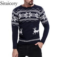 цена на Sitaicery Mens Causal O Neck Sweater Deer Printed Autumn Winter Christmas Knitted Pullover Sweater and Sweaters Slim Pullover