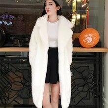 Winter High Quality Faux Mink Fur Coat Women Thicken Warm Plush Coats Luxury Long Fur Jacket Plus Size Loose Outerwear Female