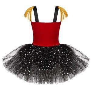 Image 2 - Crianças meninas dia das bruxas ringmaster circo traje borla lantejoulas malha tutu ballet vestido ginástica collant desempenho dança wear