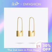 Enfashion atacado bloqueio brincos de gota para mulheres cor do ouro aço inoxidável pendurado brincos moda jóias presentes brinco e5282