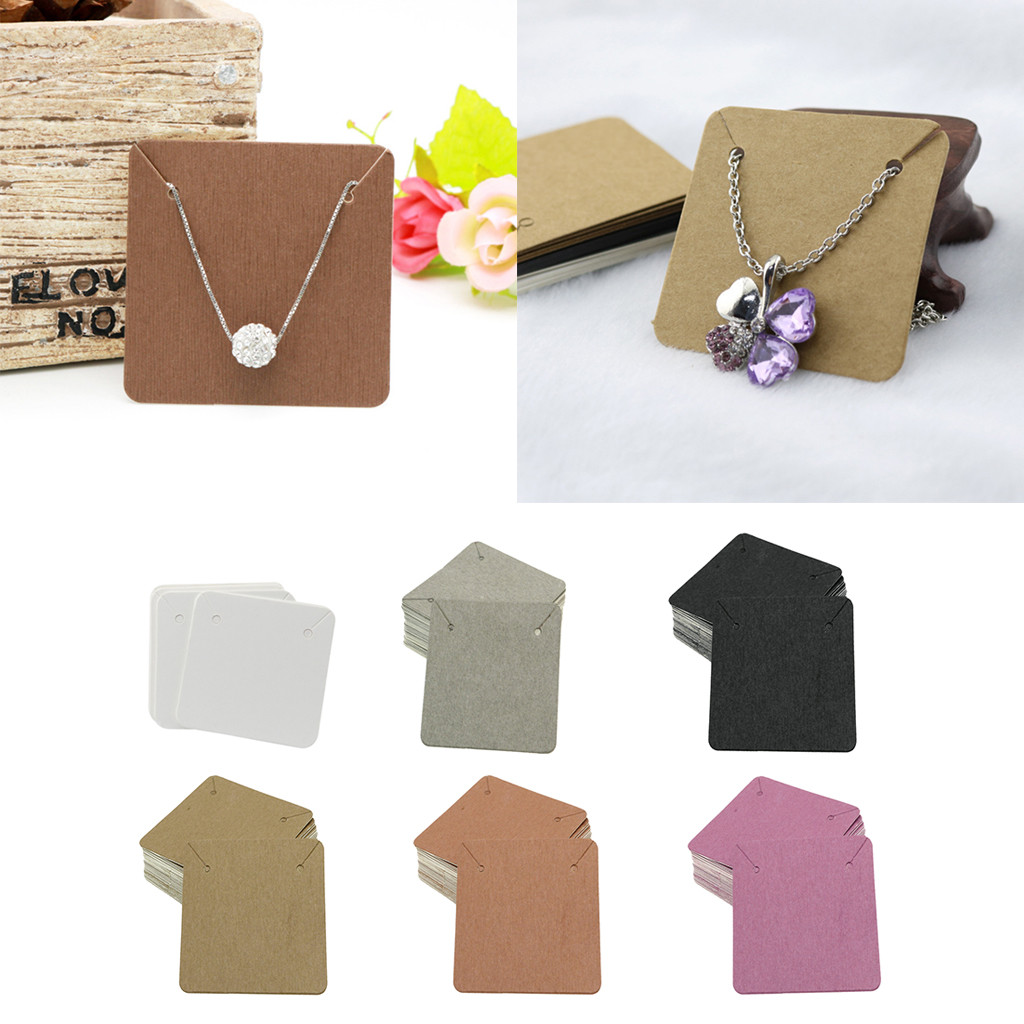 100 Pack Jewelry Display Cards Necklace Earring Holder Display Rack Kraft Paper Tags 6 Colors Optional