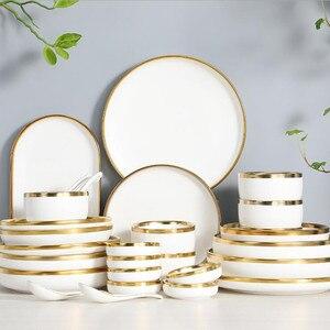 Borda dourada porcelana branca placa de jantar conjunto placa de cozinha cerâmica utensílios de mesa pratos comida salada arroz macarrão tigela caneca talheres conjunto 1p