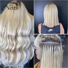 Neitsi-cápsulas de queratina recta cabello de fusión humana, máquina de punta en U, extensión de cabello prepegado Remy de 16