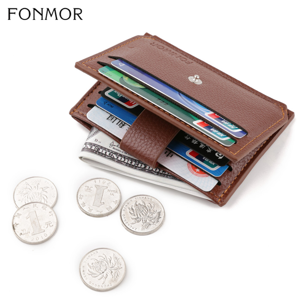 Fonmor New Male Slim Wallet Purses Coin-Pouch-Bag Men Card-Holder Business Zipper Hasp Credit Small Fashion PU Leather 2019 Hot