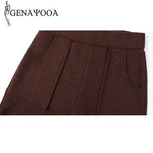 Image 5 - Genayoua Knitting Plus Size spodnie damskie spodnie na co dzień szerokie nogawki wysokiej talii eleganckie spodnie urząd Lady odzież robocza damskie spodnie 2019