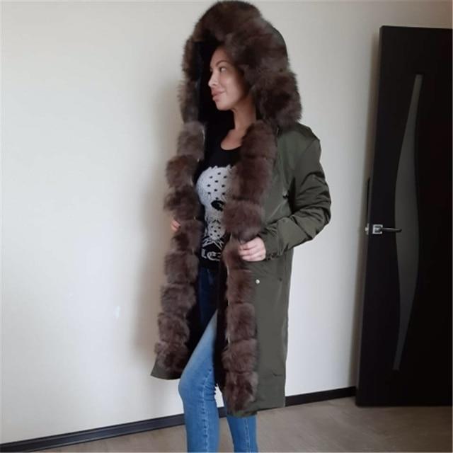Oftbuy防水リアルファーコートのxロングパーカー冬のジャケットの女性天然フォックス毛皮の襟フード厚く暖かい上着取り外し可能な新