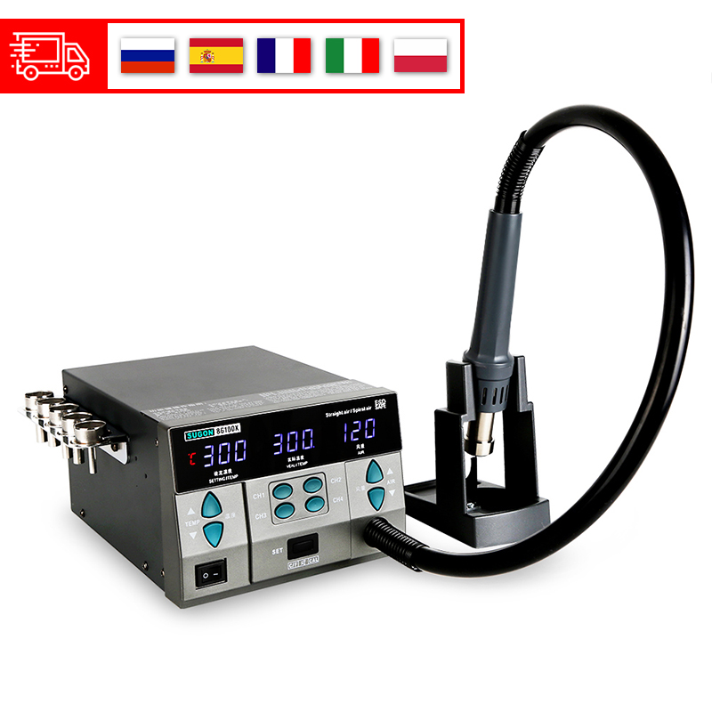 SUGON 8610DX 1000W Hot Air Rework Station LED Display Lead-Free Heat Gun Microcomputer Temperature Adjustable 5nozzle