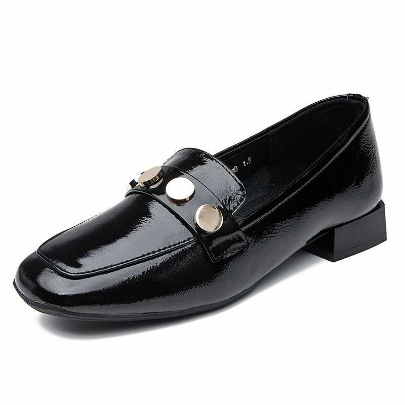Marke Frauen Niet Flach Echtem Leder Wohnungen Schuhe Slip On Loafer Casual Mokassin Gommino Komfortable Dame Karree Schuhe