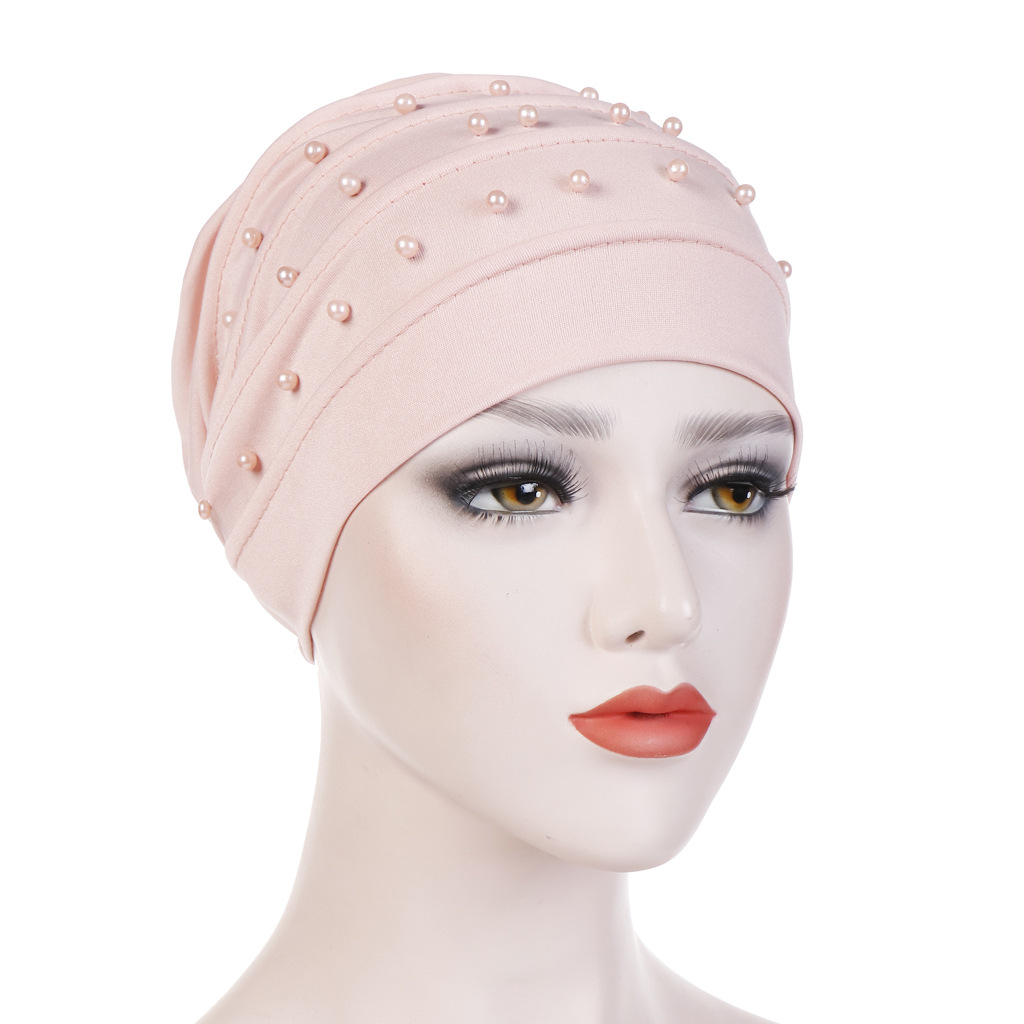 New Crystal Fold Nail Beads Turban Cap Muslim Hat Multi-color Headbands For Women Fashion Hair Accessories