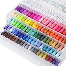 цена на 12/24/36/48/60/80/100 Ink Colored Art Marker Pen Set Calligraphy Dual Paint Brush Drawing Painting Watercolor Pencil Stationery