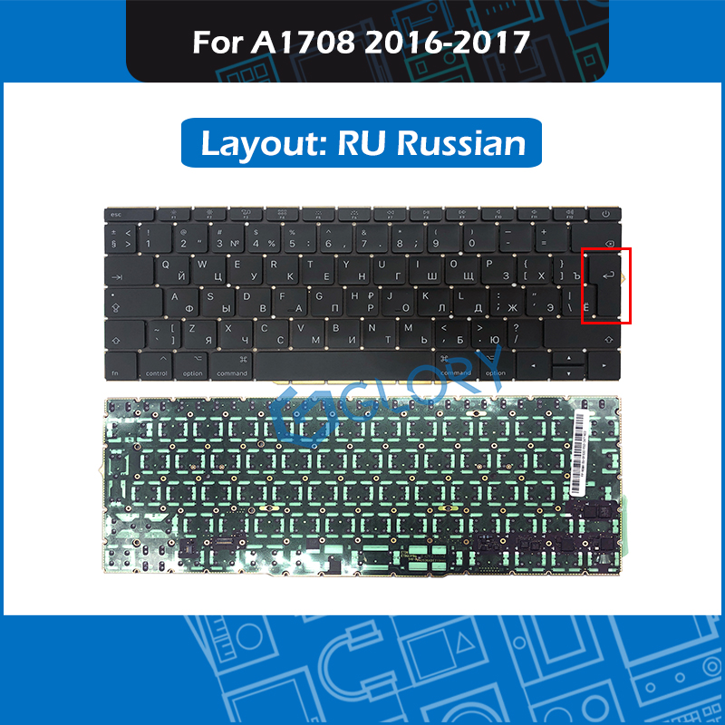 New Laptop Big Enter key RU Russian Layout A1708 Keyboard For Macbook Pro Retina 13 2016 2017 Russia keyboard Replacement image