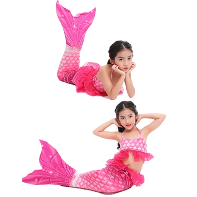 New Girls Mermaid Tail Princess Dress with Kids Holiday Mermaid Costume Cosplay Swimsuit Birthday Costume