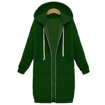 Spring 2020 Casual Hoodie Zipper Long Coat Sweatshirt Women Zip Up Loose Oversized Jacket Coat Women Hoodies Outwear Tops 18
