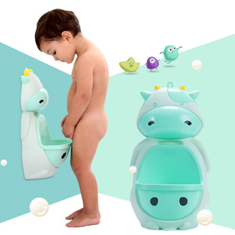 Kids Animal Cartoon Cow Design Baby Boy Potty Toilet Urinal Pee Trainer Wall-Mounted Potty Toilet Training Stand