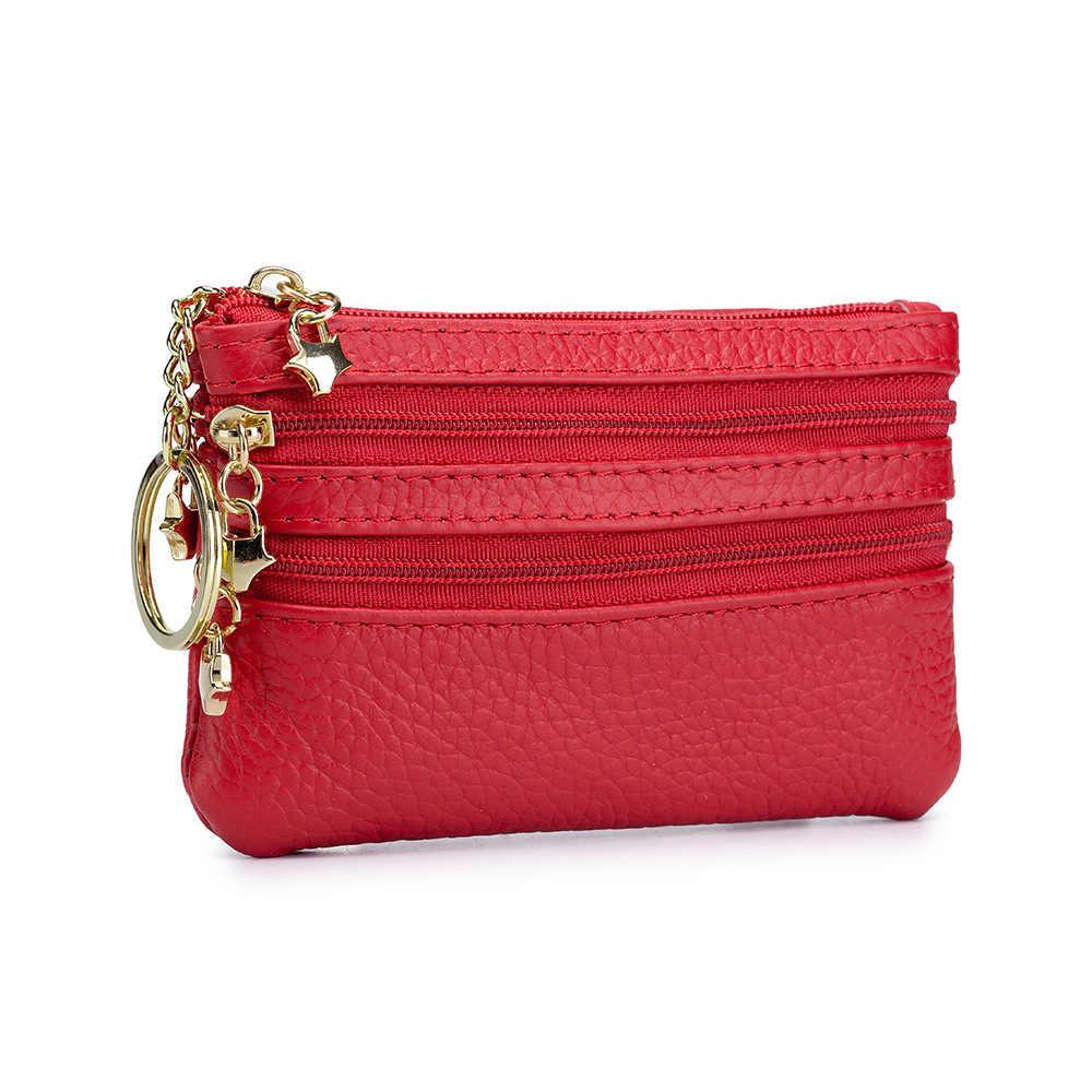 Kobiety moneta torebka kobieta spódnica mini ze skóry naturalnej portmonetka na drobne z lustrem Zipper szminka etui cukierki kolor przenośny brelok portfel