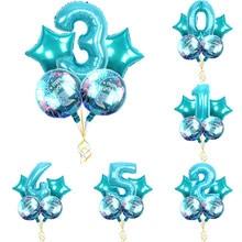 5pcs/lot large cartoon  mermaid foil  blue digital balloon set birthday balloon girl cartoon hat