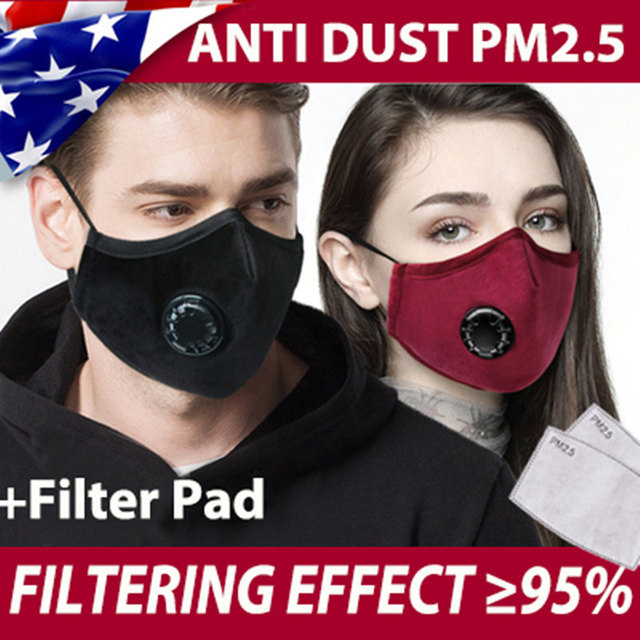 PM2.5 Face Mask Kids  Mask Cute Breathable Valve Mouth Mask Filter Pad Pollution Activated Carbon Filter Children Cotton Masks 2