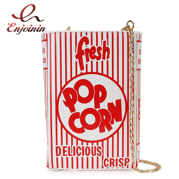 Fashion Popcorn Red Stripe Design Girl's Pu Handbag Chain Purse Shoulder Bag Tote Crossbody Bag Women Casual Clutch Bag Flap цена 2017