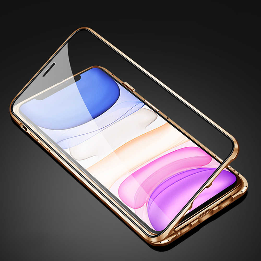 OTAO 新メタル Iphone 5 11 プロマックス 2019 両面ガラスマグネット裏表紙 iphone 11 フルカバーフリップケース