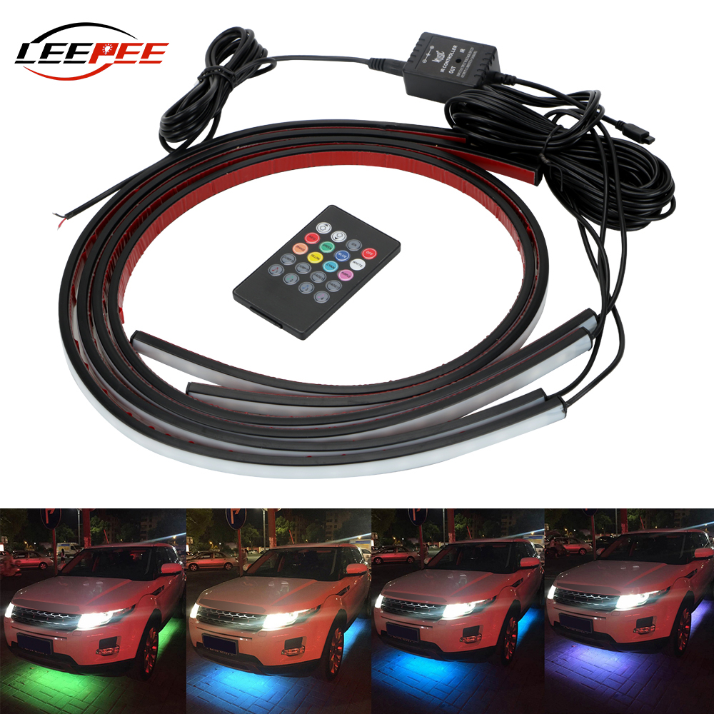 LEEPEE Car Bottom Atmosphere Lamp Universal Auto LED Decorative Strip Neon Light Music Active Sound Control Underbody 4x8 Colors